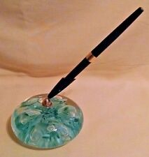"JOE RICE PAPERWEIGHT 2000 BLUE GREEN FLORAL FLOWER PEN 4"" GLASS HEAVY ROUND."