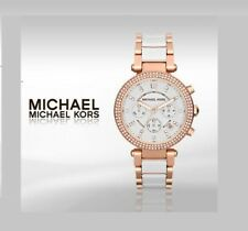 NEW MICHAEL KORS MK5774 PARKER 39MM WHITE DIAL ROSE GOLD LADIES WATCH UK STOCK