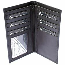 MENS Luxury REAL LEATHER LONG Wallet Business Credit CARD HOLDER Checkbook Purse
