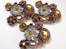 3 - 2 HOLE BEADS PURPLE BROWN PINK GREEN ENAMEL FLOWERS HEARTS CABS RHINESTONES