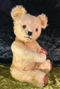 "ANTIQUE COLLECTABLE AUSTRALIAN LINDEE GOLDEN BROWN JOINTED TEDDY BEAR 20"" C1940"