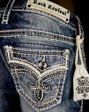 "$180 Buckle Rock Revival ""Wild Tiger"" Swarovski Sequins Leather Easy Skinny 29"