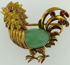 Brooch Pin~Jade+RubY Stones Set Phenomenal 14Kt Yellow Gold~Detailed Rooster