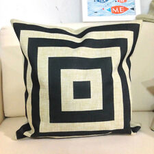 Vintage Retro Cotton Linen Cushion Cover Case Black & Beige Square 45x45cm