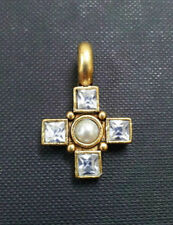NEW PILGRIM DENMARK 16K GOLD PLATED CROSS PENDANT WITH AB CRYSTALS & PEARL CHARM