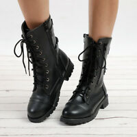 Chinc Womens Lady Military Boots Army Combat Ankle Lace up Soft Flat Biker Shoes