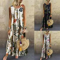 Women Long Dress Summer O-Neck Floral Sleeveless Casual Maxi Dress Plus Size
