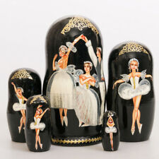 "Matryoshka Hand Painted Nesting Doll Russian Ballet Swan Lake 7"" 5 ps"
