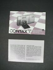 #2 Contax T Genuine Camera Instruction Manual / User Guide (Detached Pages)
