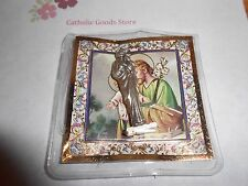 "Saint. Joseph -  1 1/2"" x 1/2""  Silver Tone Metal Pocket Statue with case"