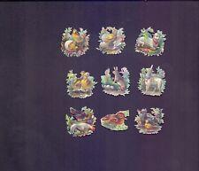 9 Nice Vintage,Scraps Largest 34 x 34 mm Animals Poultry & Flowers    (SB 2)