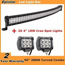 """50"""" 288W Curved Combo LED Light Bar + 4"""" CREE Pod Lights Offroad SUV Ford Jeep"""