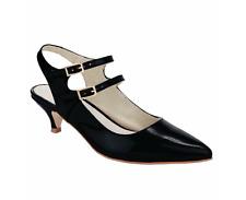 Heine Femme UK 6.5 EU 40 Patrizia Dini Noir Verni Bride Arrière Bout Pointu Chaussures NOUVEAU