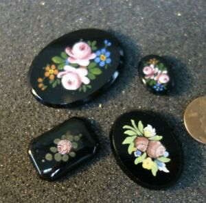 4  Vintage Czech Art DECO   Hand Painted  Glass  Cabochon Jewelry pieces FLOWERS