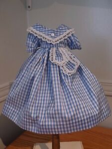 """10"""" French Fashion/Huret Doll Silk Gingham say dress with tabs."""