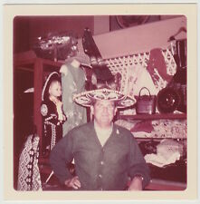 Square Vintage 60s PHOTO Man In Sombrero Hat In Mexican Shop