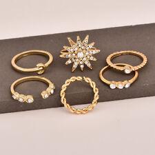 6Pcs/Set Adjustable Elegant Crystal Star Moon Open Knuckle Rings For Women RING