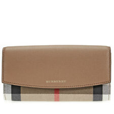 Burberry House Check and Leather Continental Wallet - Dark Sand