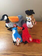 "Ty Beanie Babies Birds, ""Mac"" ""Rocket"" & Scoop Loosy Wisest Goose Owl Cardinal"