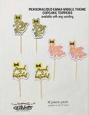 PERSONALISED CUSTOM EMMA WIGGLE BOW THEME BIRTHDAY PARTY CUPCAKE TOPPERS x18