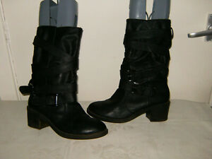Size 6 Black Buckle Detail 2.4 Heel Pull On, Atmosphere' Mid Calf  Boots G/C/C