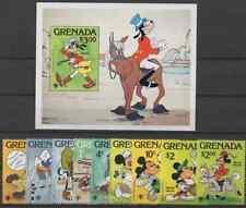 GRENADA. DISNEY CARTOON CHARACTERS 1979 MINI SHEET & SET MNH