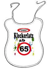 """Scherz-Latz für Erwachsene zum Geburtstag """"ab 65 Jahre"""" Kleckerlatz"""