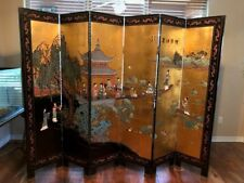 "Asian Vintage Style 6 Panel Gilded Screen Room Divider 72""h x 96""w"