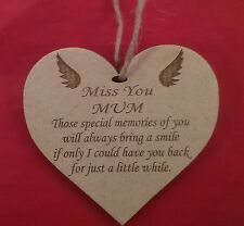 Miss You Mum Laser Engraved Heart Memorial Plaque Sign Remembrance Memory