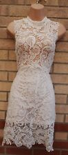 WHITE FLORAL SLEEVELESS LONG NECK CROCHET BODYCON LACE PARTY TUBE DRESS 10 S