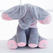 Peek-A-Boo and Singing Stuffed Elephant Toy with Flapping Ears