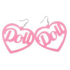 Pink Large Heart Doll Letters Dangle Earrings Acrylic Ear Stud Women Jewelry