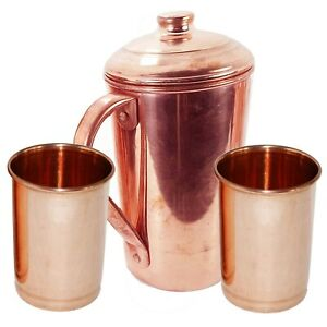 Handmade Copper Water Jug Pitcher Pot With 2 Glass For Ayurveda Health Benefits
