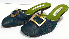 92c2d13cb28 OLIVIA ROSE TAL Open Back Heels Womens 8 Dressy Shoes Blue Green Paisley  Buckle
