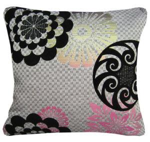 Qb302aa Black Pale Gold Hot Pink Linen Blend Flower Cushion Cover/Pillow Case