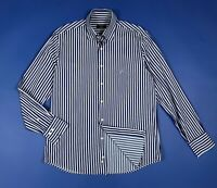 Caporiccio shirt camicia uomo usato used L 41 16 a righe blu manica lunga T6093