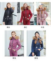 Womens Down Cotton Long Jumpsuit Hooded Warm Outfit Fur Collar One-Piece Garment
