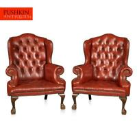 STYLISH 20thC PAIR OF ENGLISH LEATHER WING BACK ARMCHAIRS c.1970