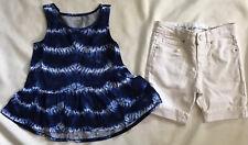 Gymboree Girls Size 5T Navy Tie Die Ruffle Top White Denim Bermuda Shorts Size 5