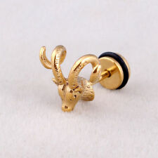 Ladies Vintage Gold Bull Goat Ram Horns Earrings Ear Stud Punk Goth Sheep