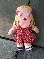 Vintage Goldilocks Doll~1920's~Hand-Sew n~Blonde Hair~Antique~Red Dress