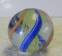#12483m German Handmade Yellow Latticino Shooter Marble .93 Inches