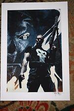 PUNISHER ART PRINT LITHOGRAPH SIGNED TIM BRADSTREET FRANK CASTLE FRAMED 19X13