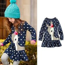 Toddler Baby Kids Girls Autumn Clothes Long Sleeve Party Deer Tops T-Shirt Dress
