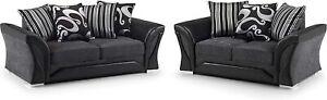 *** BRAND NEW*** Lisbon Modern 3+2 Seater Black & Grey Fabric Sofa Cheap