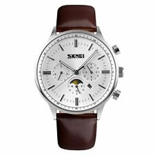 SKMEI Mens Luxury Watch Quartz Multi Dial With Moon Dial Brown Leather UK