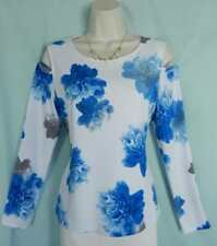 NEW Calvin Klein White Watercolor Flowers Cold-Shoulders Long Sleeves Top,M 8-10