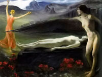 Oil painting Paul Schad Rossa - into eternity nudes young angel in landscape art