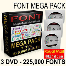 225,000 Royalty Free Fonts on 3 DVD Graphic Design Web Presentations Publishing