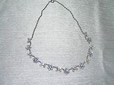 Vintage Dainty Silvertone Twist Chain w Clear Rhinestone Flower Links Necklace